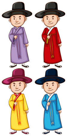 coloured: A coloured drawing of the four Asian people on a white background Illustration