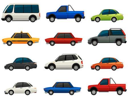 tinted glasses: Set of vehicles on a white background Illustration