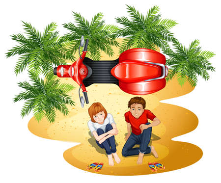 a two wheeled vehicle: A topview of a boy and a girl near the motorcycle on a white background Illustration