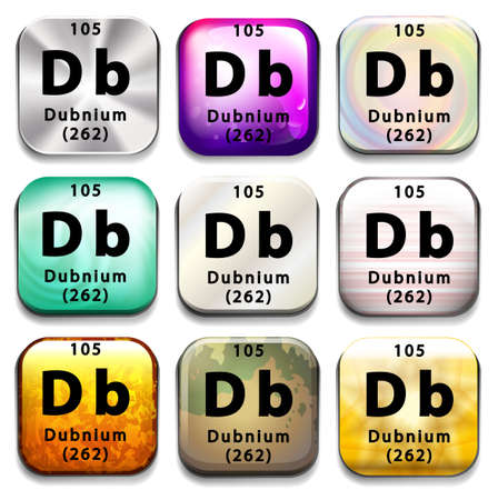atomic number: A periodic table showing Dubnium on a white background