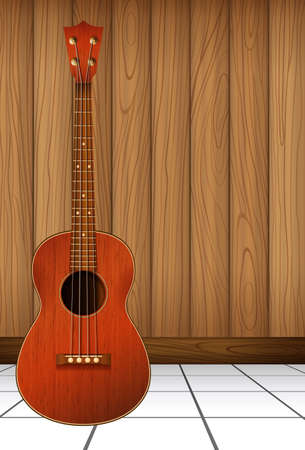 A guitar at the wall Vector