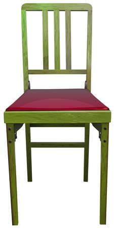 ergonomie: Ein Holzstuhl auf einem wei�en Hintergrund Illustration