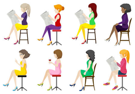 Eight faceless ladies sitting down on a white background Vector