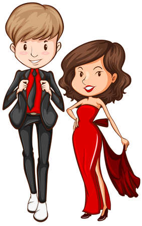 Lovers in their formal attire on a white background Illustration
