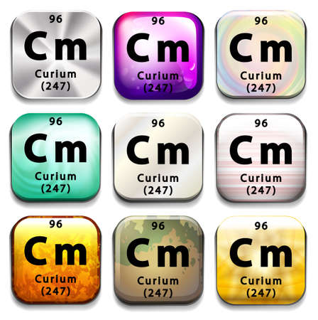 A periodic table button showing the Curium on a white background Vector