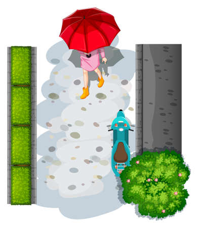 a two wheeled vehicle: A topview of a woman with an umbrella on a white background Illustration