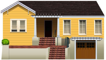 window shade: A residential property on a white background Illustration