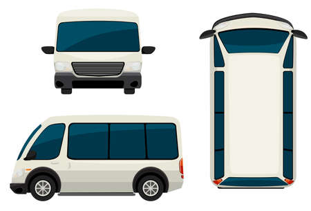 A van in different views on a white background