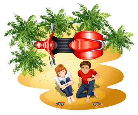 a two wheeled vehicle: A topview of the park with a couple and a vehicle on a white background