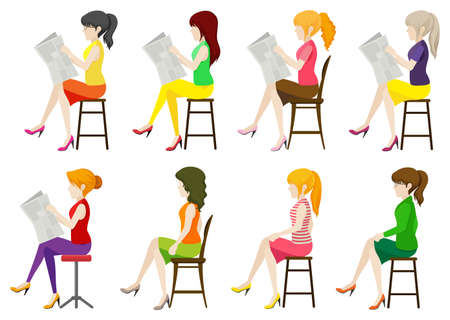 sit: Faceless ladies sitting down on a white background