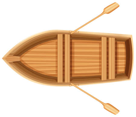 A topview of a wooden boat on a white background Ilustração