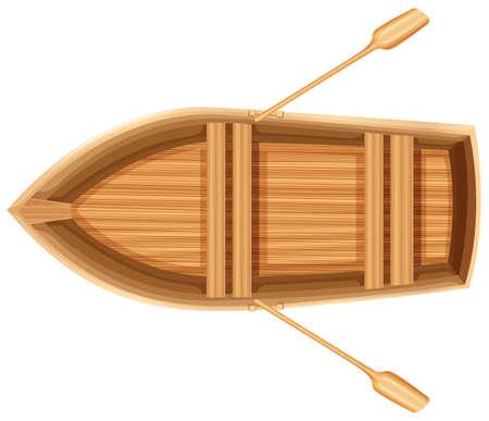 Een bovenaanzicht van een houten boot op een witte achtergrond