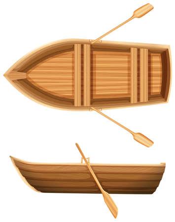 Een bovenaanzicht en zijaanzicht van een houten boot op een witte achtergrond
