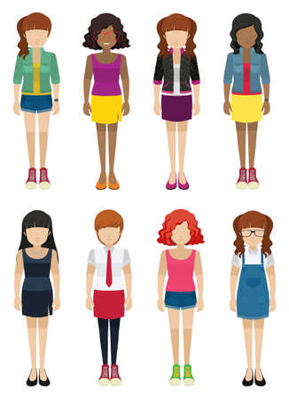 frontview: Faceless ladies on a white background