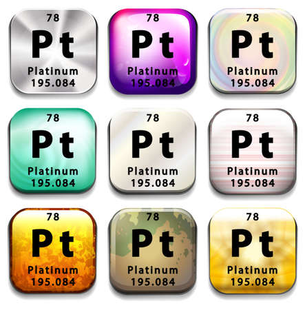 platinum: A periodic table button showing the Platinum on a white background