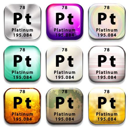 platina: Een periodieke toets tabel met de Platinum op een witte achtergrond