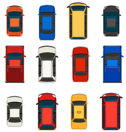 view from the above: A topview of a group of vehicles on a white background Illustration