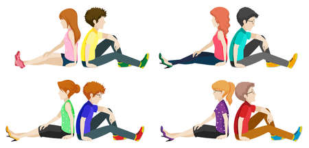 human face: Boys and girls sitting back to back on a white background Illustration