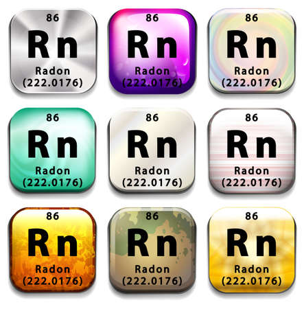 radon: A periodic table showing Radon on a white background