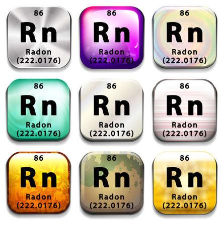 radon: A periodic table showing Radon on a white background