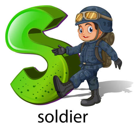 capitalized: A letter S for soldier on a white background Illustration