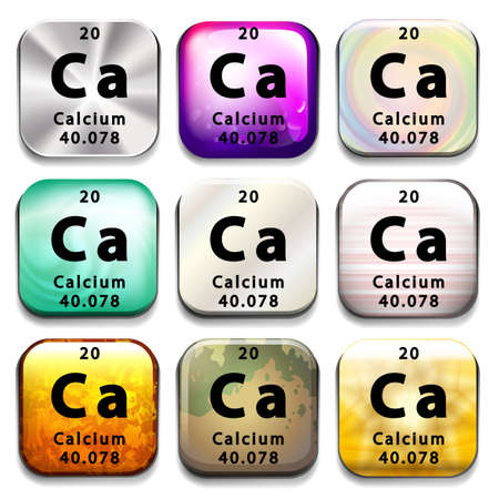 calcium: A periodic table showing Calcium on a white background Illustration