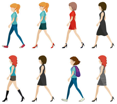 lineup: Faceless ladies walking in one direction on a white background