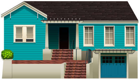 single family: A blue residential house on a white background Illustration