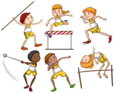 track and field: Kids engaging in outdoor activities on a white background