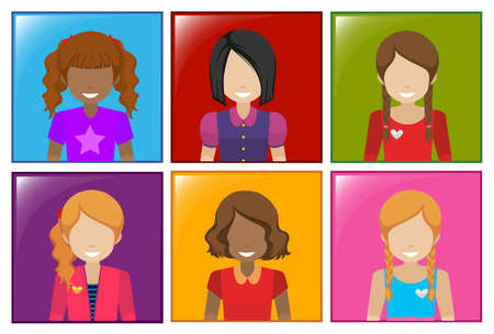 A frame with faceless girls on a white background Vector