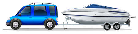 boat wheel: A van and a boat on a white background Illustration