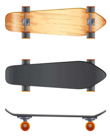 rollers: Wooden skateboards on a white background