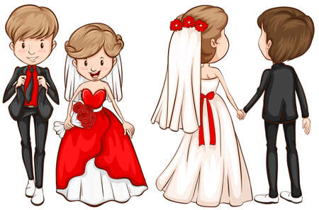bride and groom background: A front and back view of a married couple on a white background