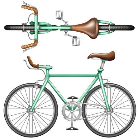 top: A top and side view of a green bike on a white background