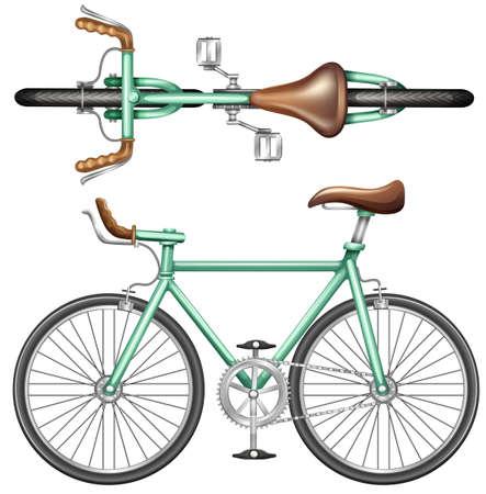 Een boven- en zijaanzicht van een groene fiets op een witte achtergrond