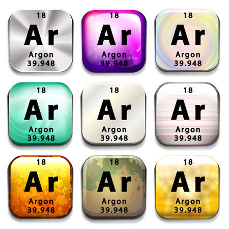 argon: A periodic table button showing Argon on a white background Illustration