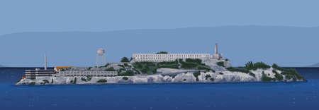 The historic Alcatraz Island Vector
