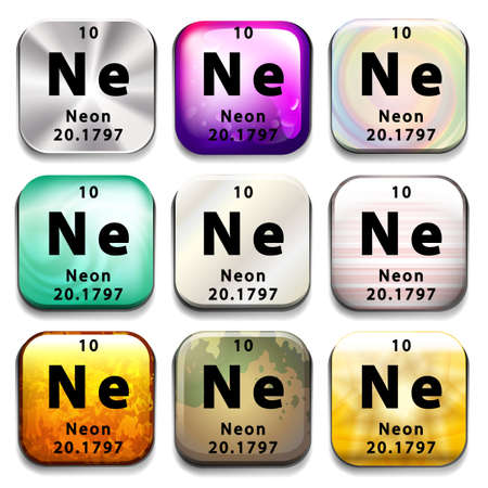 ne: A periodic table button showing Neon on a white background