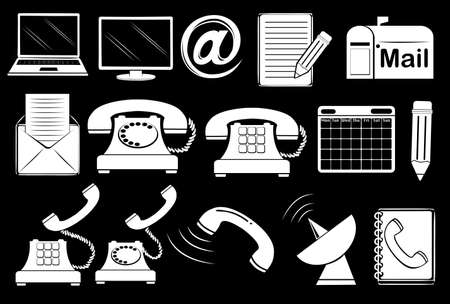 communication tools: Set of communication tools on a black background Illustration