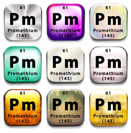 pm: A button showing the element Promethium on a white background