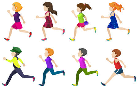 young woman running: Faceless group of kids running on a white background