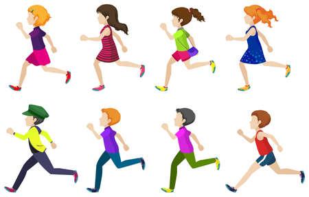 child running: Faceless group of kids running on a white background