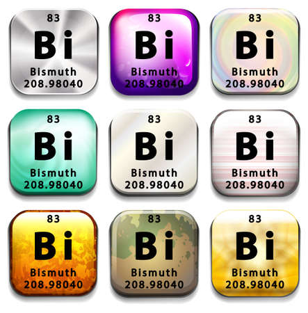 bismuth: A button showing the element Bismuth on a white background