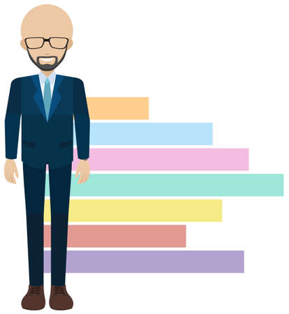 faceless: A faceless man beside the chart on a white background Illustration