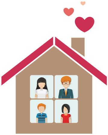 family isolated: A house with a family on a white background Illustration