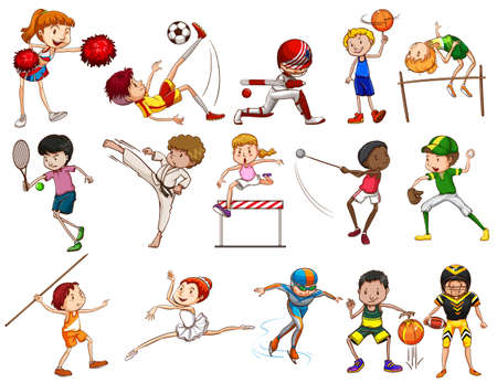 tennis girl: Kids engaging in different activities on a white background Illustration