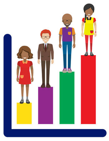 four people: A colourful line graph on a white background