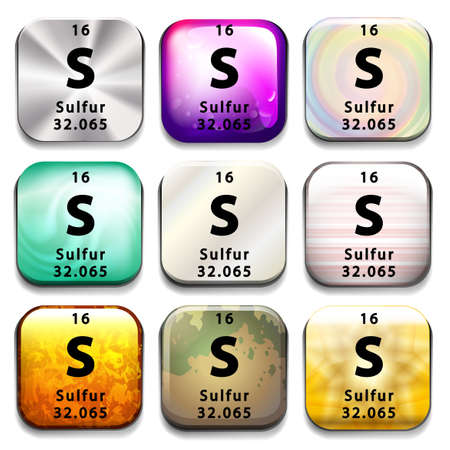sulfur: A button showing the element Sulfur on a white background