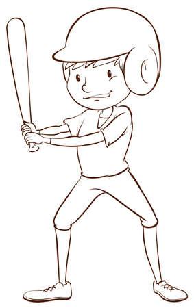 예행 연습: 흰색 배경에 야구 선수
