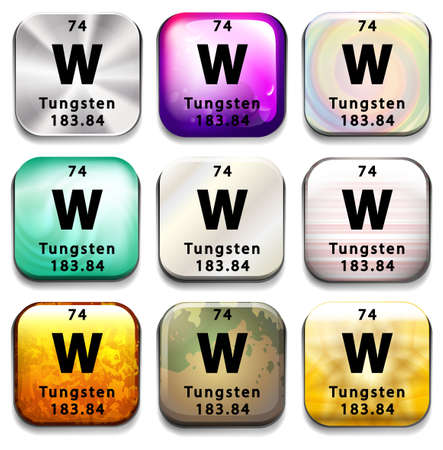 periodic: A button showing the element Tungsten on a white background Illustration